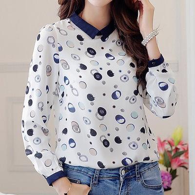 かわいいプリント柄の長袖プルオーバーシフォンシャツ