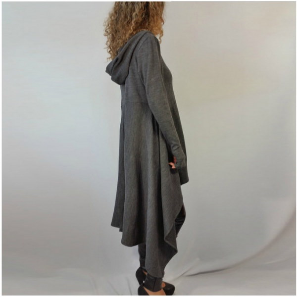 Asymmetry Hoodie Dress アシンメトリーフード付パーカーワンピース