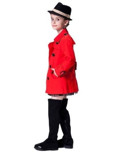 Girls Fashion Trench Coat Double-breasted Windbreaker British Style Coat