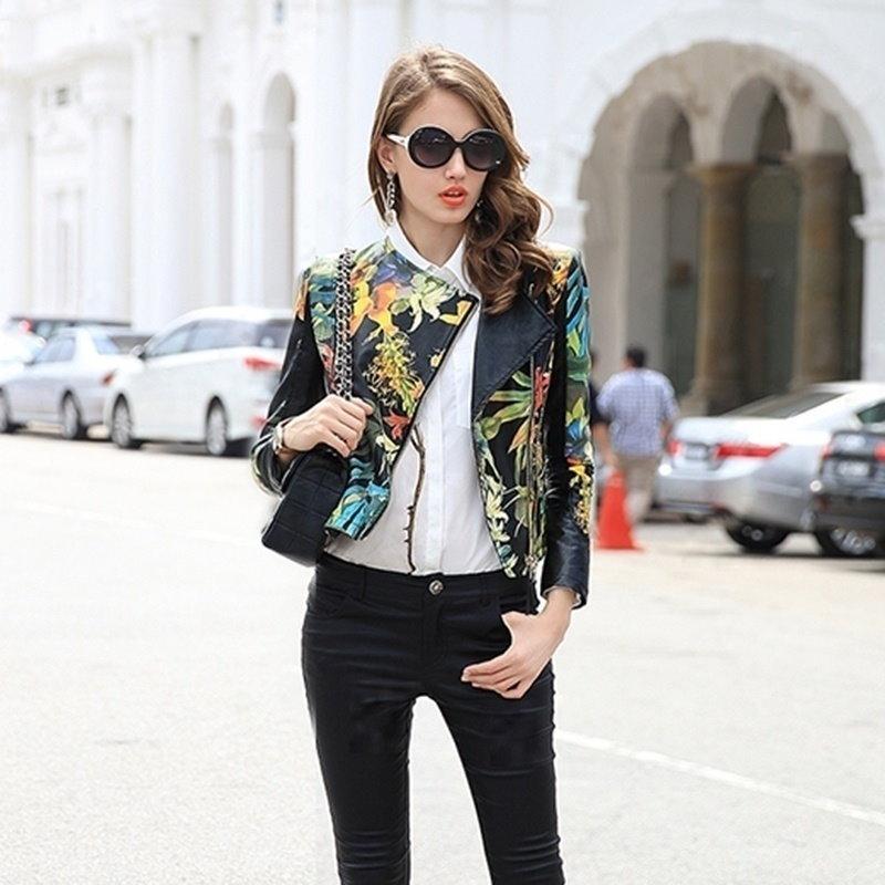 2016新しいファッションセクシーな女性の黒の花柄ショートジャケット長袖ジッパーのコートクールアウター