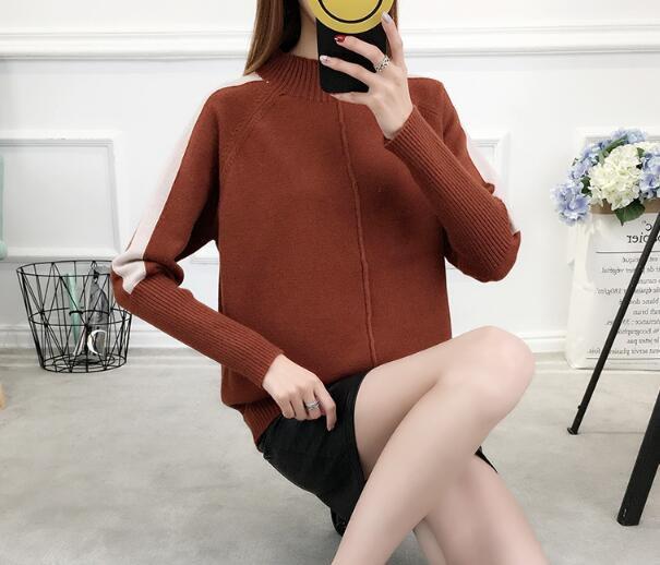 [55555SHOP]韓国ファッション/無地/シンプル/フェミニン/ルーズなフィット/タートルネックニット/ボクシー