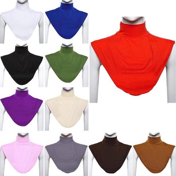Islamic Muslim Ladies Modal Hijab Detachable Turtleneck Stand Dickey Collar Bib