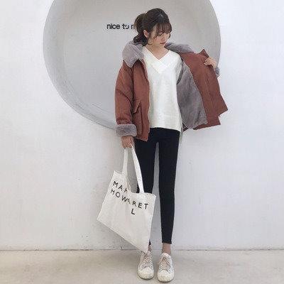 55555SHOP[55555SHOP]ツーリング 女 短いスタイル 手厚い 大 毛皮の襟 小さな綿 韓国風 アウターウェア 帽