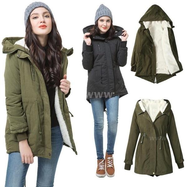 新しいファッション女性冬のジッパージャケットロングスリーブファーコートウォームロングコートコットンジャケット(プラスサイズ