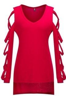 女性セクシーなロングスリーブVネックTシャツ(サイズ:S、C