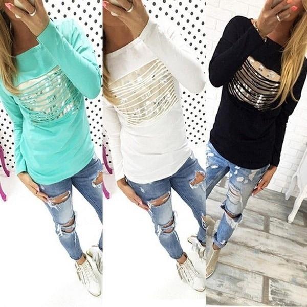 ホットファッションレディースルーズプルオーバーTシャツロングスリーブタッセルホーローアウトトップシャツシックなカジュアルT-Shi