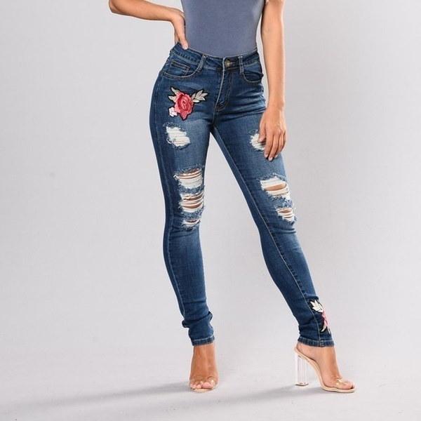 女性のためのフラワー刺繍リッピングジーンズ女性のためのセクシーなカジュアルビッグストレッチスキニージーンズデニムパンツ