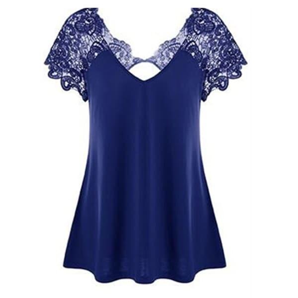 レディースファッションVネックレースパッチワークセクシーなピュアカラーコットン半袖TシャツZH5547