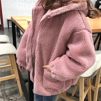 ボアコート アウター レディース 冬新作 韓国 ファッション コート ジップ ボア プードル ジャケット オーバーサイズ 2019 P4094