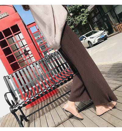 売れ筋 トレンド ワイドパンツ ロング丈 ハイウエスト シンプル きれいめ すっきり スタイルアップ 脚長効果 スリットQA0830