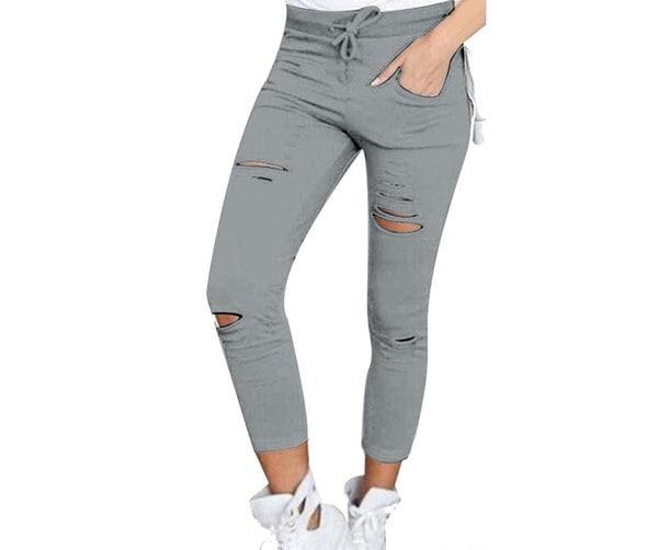 2017ファッション女性鉛筆パンツ壊れた穴コットンナインポイントペンシルパンツレディース