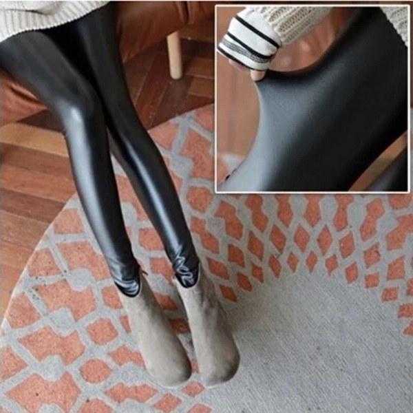 フリーサイズファッションレディースブラックフェイクレザーハイウエストタイツブーツパンツレギンスHOT!(カラーブラック)