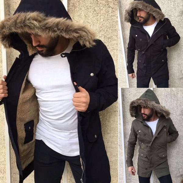 プラスサイズメンズフェイクファーフード付きロングコートファッション秋冬メンズアウトレットトレンチコートスリムフィット戦争