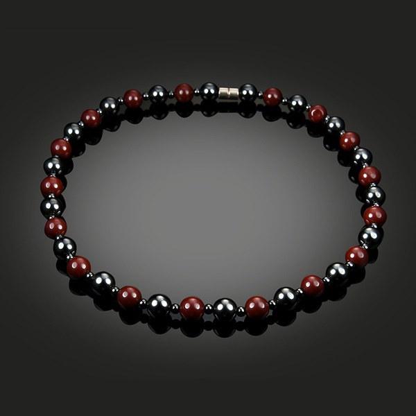 1個黒と赤の磁気ビーズヘマタイトネックレス磁気療法ヘルスケアネックレス女性の男性J