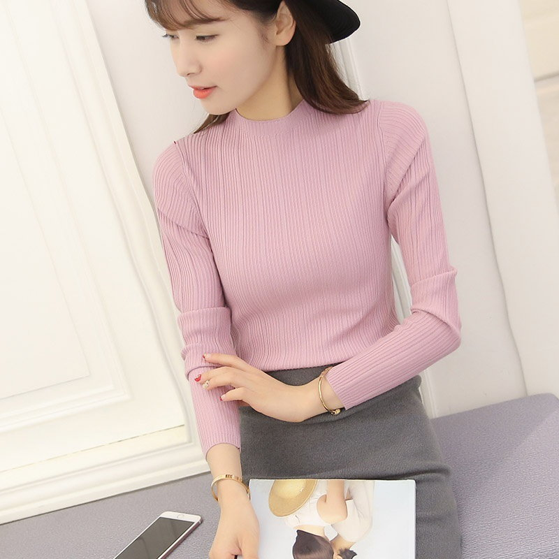 High Elastic Women Turtleneck Knitted Sweater Pullover Autumn Turtleneck Womens Jumpers Pull Femme T