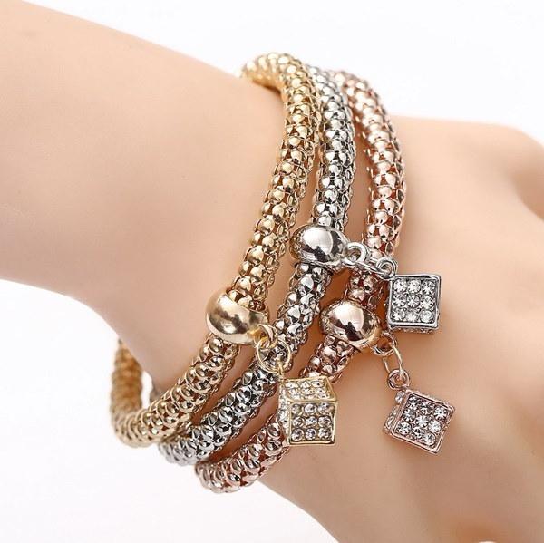 幾何学的な正方形ブロックCZダイヤモンド装飾ジュエリー女性のためのギフトブレスレットファッション