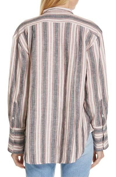 フレーム レディース シャツ トップス FRAME Stripe Linen Bib Shirt