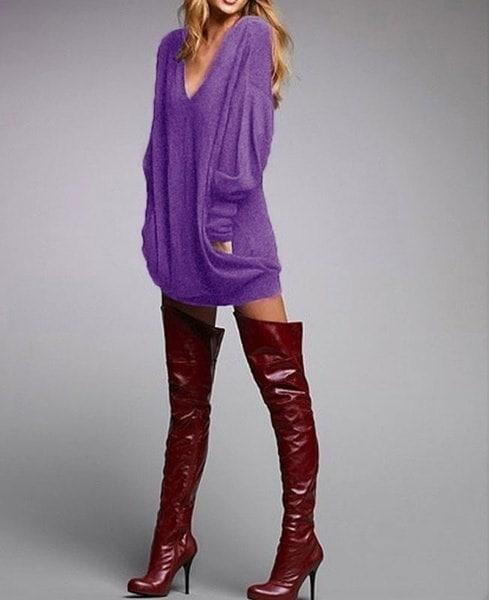 女性のファッションフィットロングシャツポケットロングスリーブカジュアルVネックTシャツスカート