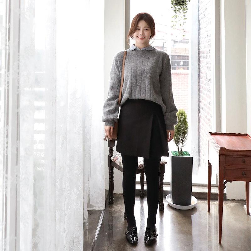 [CHERRYKOKO]ベーシックウールアンゴラリブニット グレー[2018S/S新作][送料無料]✯韓国ファッション✯C712MSKN67