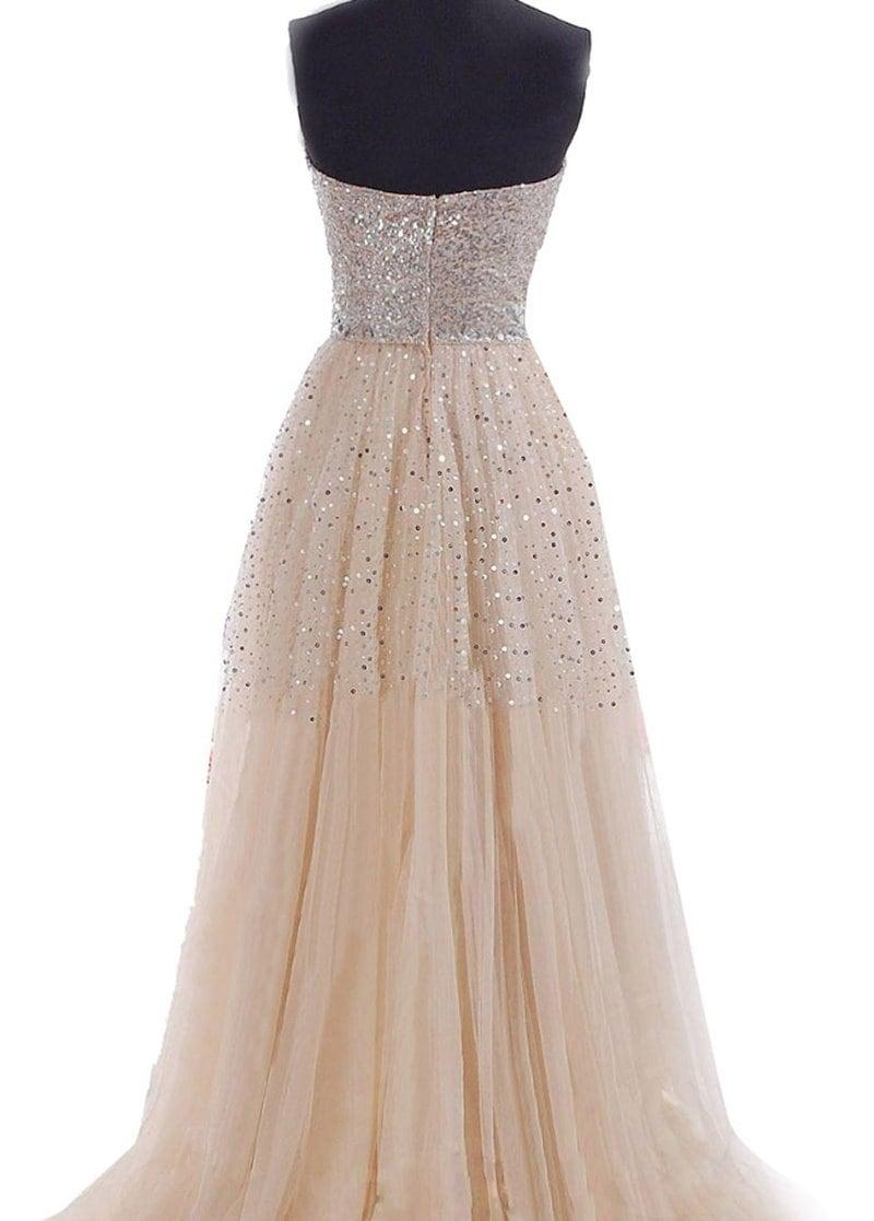 Fashiontideの味の女性のストラップレススパンコールドレス結婚式の長いFornalの夕方のプロボールのドレスドレス