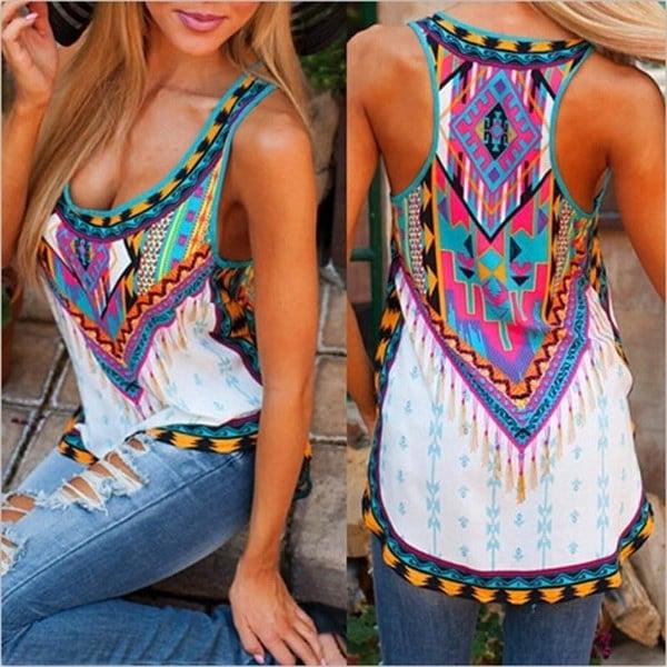 女性のファッションノースリーブボヘミアンベストTシャツPrint tops