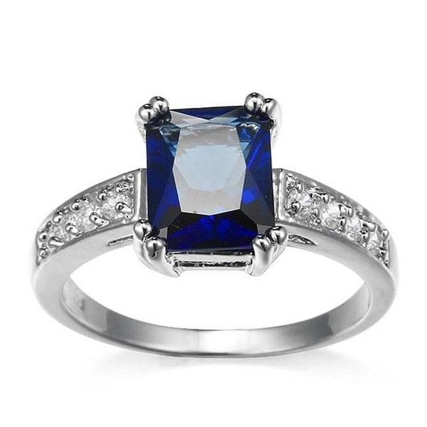 925ソリッドスターリングシルバーナチュラル宝石ブラックサファイアの花嫁の結婚式の婚約指輪ジュエリーサイズ