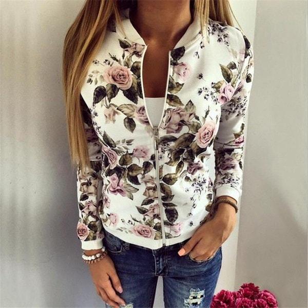 Hot Women s Flower Printed Bomber Jacket Women Baseball Coat Floral New