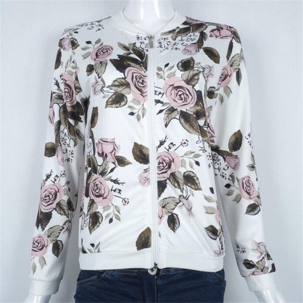 Hot Women s Flower Printed Bomber Jacket Women Baseball Coat Floral New
