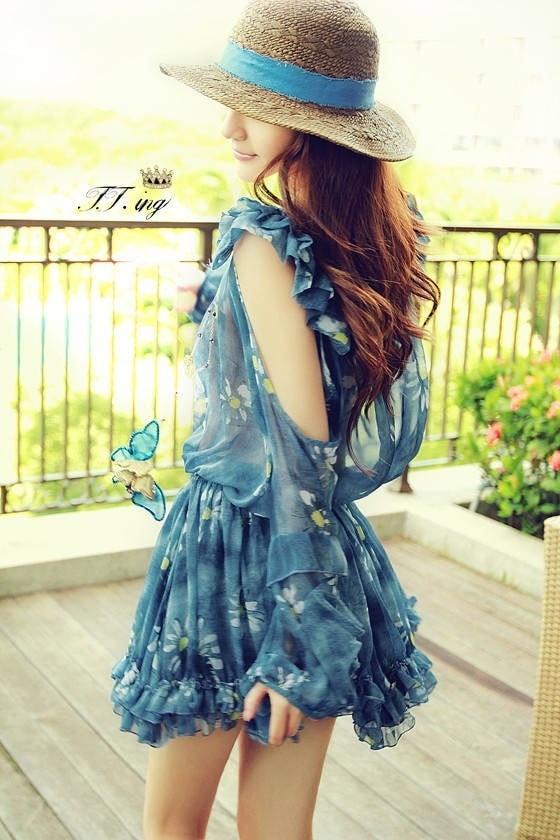 prefall_長袖シフォンドレス  ストラップレス スウィート 花柄 ワンピース loose blue dress elegant woman--MFI