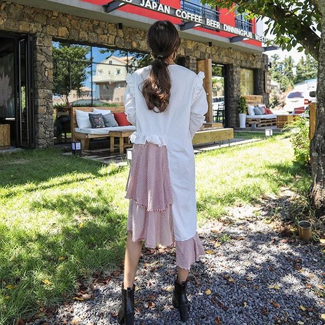 フェミニンムードオンバルフリルチェック配色秋ワンピースデイリールックkorea women fashion style