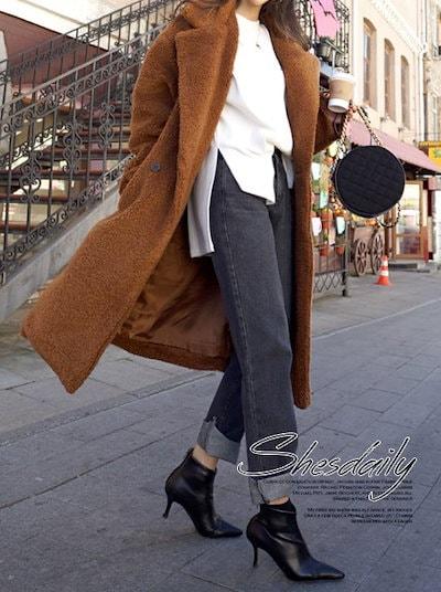 プードルコート もこもこ ゆったり su1558 ロング丈 韓国ファッション オルチャンファッション レディース オルチャン