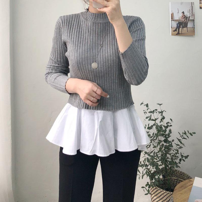 ショットゴルジニットナシブラウスセット★韓国ファッション★ナシブラウスセット★ゴルジニット