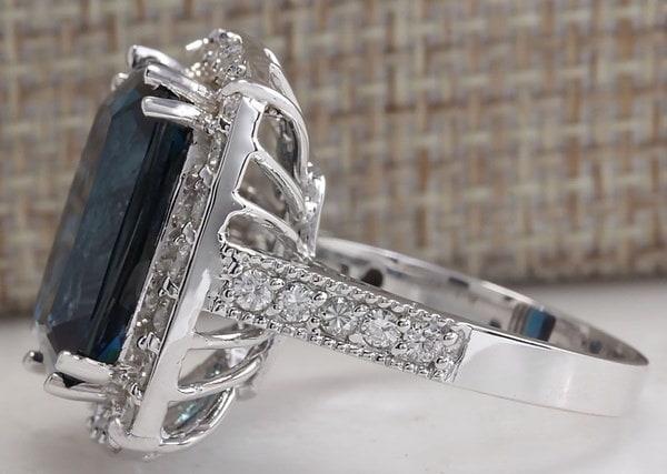 ファッション女性ナチュラル3.52CTロンドンブルートパーズ宝石925スターリングシルバーリングウェディングブライダルジュエ