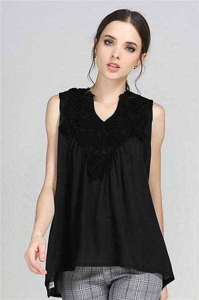 プラスサイズの女性セクシーなVネックシフォンノースリーブレース夏カジュアル服ファッションルーズシャツトップB1