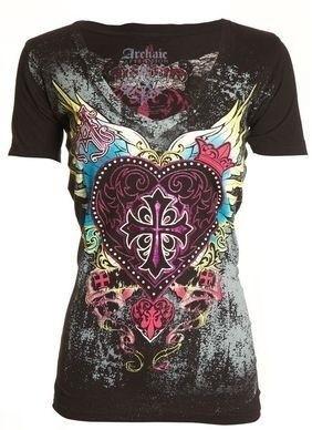 レディースファッションVネック半袖セクシーカジュアルルーズパンクスタイルコットンTシャツZH5352