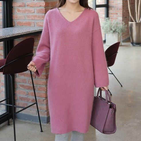 [ClicknFunny] Audie Angora V One Piece Midi Dress (knee length) Korean fashion style