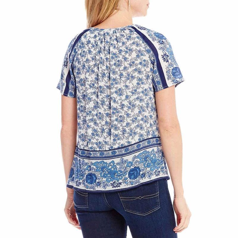 ラッキーブランド レディース トップス ブラウス・シャツ【Lucky Brand Tassel Tie-Neck Floral Border Print Peasant Top】Blue Multi