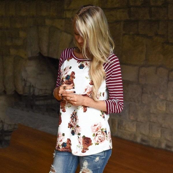 S-3XLプラスサイズの女性3/4袖Tシャツレディース秋冬ヴィンテージプリントスリムプルオーバーT