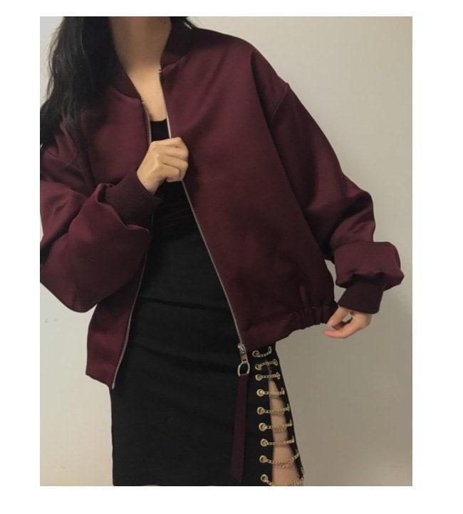 アウター ジャケット 上着  大きいサイズ レディース 可愛い 羽織 女性 オーバーサイズ 秋服 お洒落 ワインレッド スカジャン ウインドブレーカー