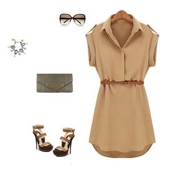 セクシーな女性シフォンカジュアルイブニングドレスファッションスリム半袖V襟ファッションベルトを送信する