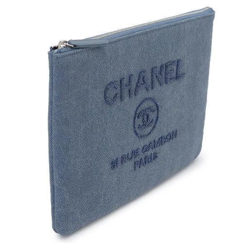 シャネルシャネル クラッチバッグ CHANEL A80802 Y61347 3B322/SV ドーヴィル キャンバス スパンコールロゴ ネイビー【ILB】