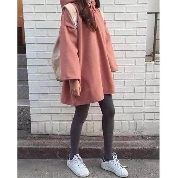 秋の女性コットンルーズ原宿フード付きジャケット女性のフルスリーブボーイフレンドスタイルのパーカーS