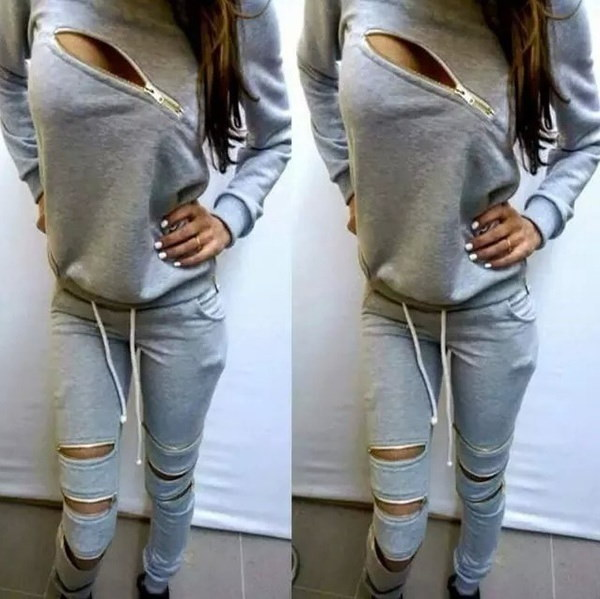 Women Sportswear Zipper Hollow Out Tracksuits Female Casual Long-sleeved Sweater Suit Hoodies 2 Piec