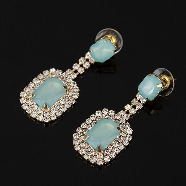 AAAのラインストーンのイヤリング大きな宝石のイヤリング女性のスタッドのイヤリングピンク、緑の宝石のイヤリング