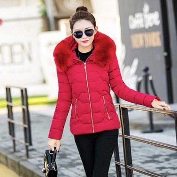 ファッション冬の女性ダウン&パーカスコットンジャケット女性コットンパッディングコート冬ラージファーコロン
