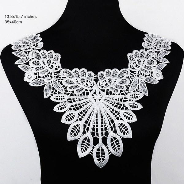 Charming Embroidery Floral Neckline Lace Collar Applique Lace Trim DIY Wedding Bridal Dress Making V