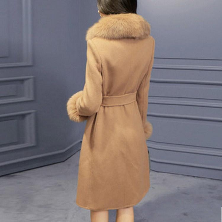 ピーコート/ラシャコート/レディース/ファーコート/ロングコート/超美形コート/フォックスファー/無地/ファー付き/ファッション/防寒/豪華/高級感