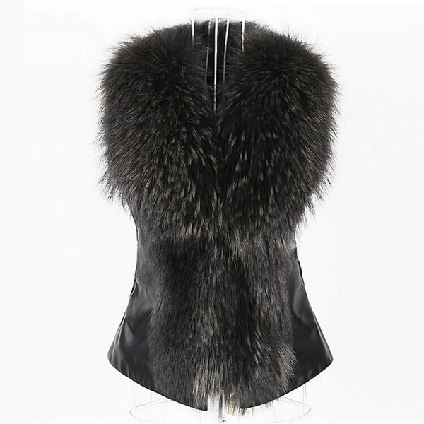 New Arrival Winter Warm Fashion Slim Women Leather Jacket High-Grade Faux Fur Vest Coat Raccoon Fur