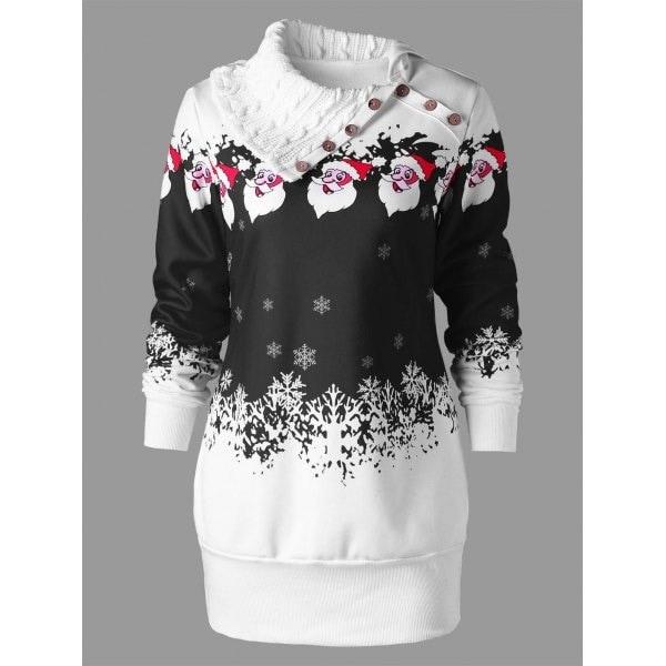 女性のファッションロングスリーブボタンカウルネックプラスサイズサンタクロースプリントプルオーバーコットンチュニック汗