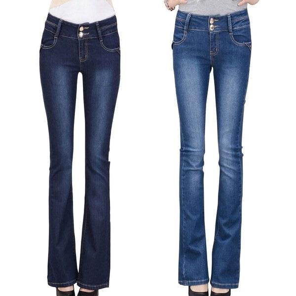 女性ビンテージストレートジッパーマイクロブーツカットジーンズパンツは、ズボンKared  -  17220-11を行った